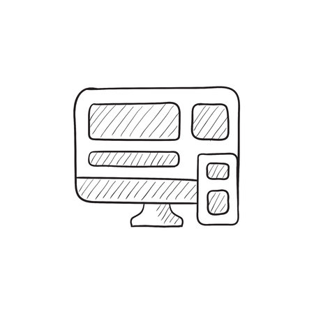 responsive design: Responsive web design vector sketch icon isolated on background. Hand drawn Responsive web design icon. Responsive web design sketch icon for infographic, website or app. Illustration