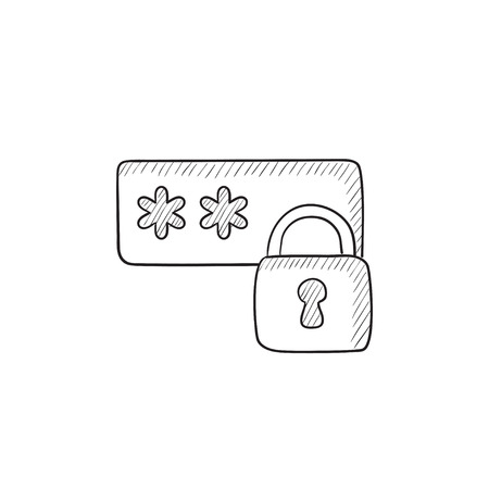 Password protected vector sketch icon isolated on background. Hand drawn Password protected icon. Password protected sketch icon for infographic, website or app.