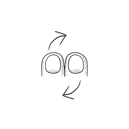 touch screen hand: Rotate touch screen gesture vector sketch icon isolated on background. Hand drawn Rotate touch screen gesture icon. Rotate touch screen gesture sketch icon for infographic, website or app.