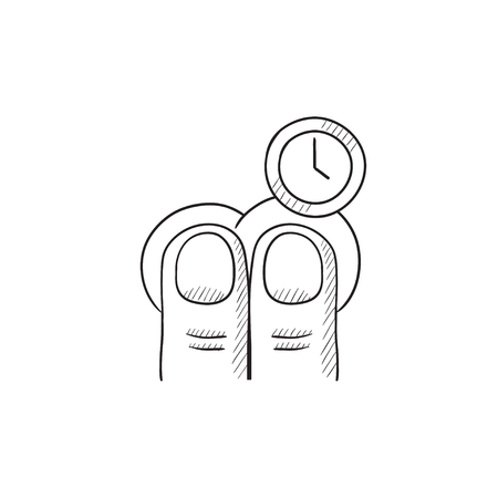 hold: Hold timer gesture vector sketch icon isolated on background. Hand drawn Hold timer gesture icon. Hold timer gesture sketch icon for infographic, website or app.