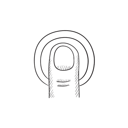 Double tap touch screen gesture vector sketch icon isolated on background. Hand drawn Double tap touch screen gesture icon. Double tap touch screen gesture sketch icon for infographic, website or app.  イラスト・ベクター素材