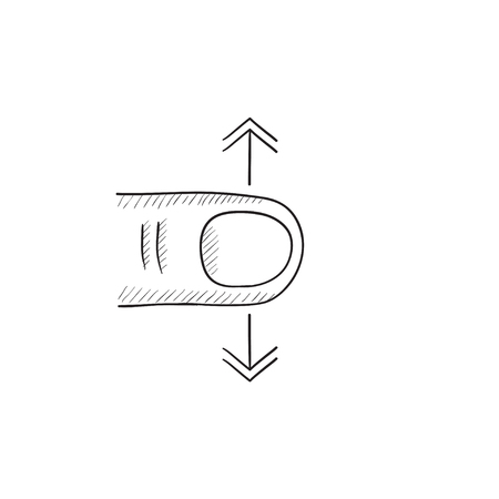 touch screen hand: Scroll touch screen gesture vector sketch icon isolated on background. Hand drawn Scroll touch screen gesture icon. Scroll touch screen gesture sketch icon for infographic, website or app.