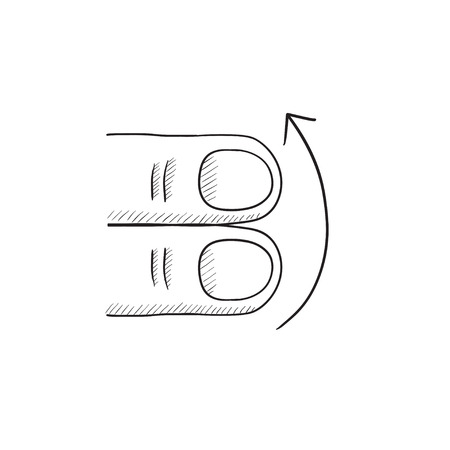 swipe: Swipe up with two fingers vector sketch icon isolated on background. Hand drawn touch screen gesture down icon. Touch screen gesture down sketch icon for infographic, website or app.