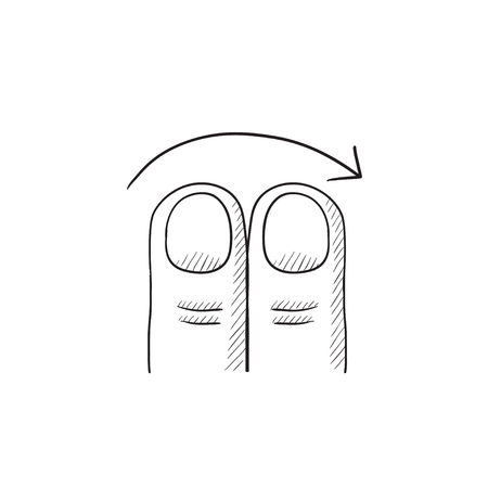 swipe: Swipe right with two fingers vector sketch icon isolated on background. Hand drawn touch screen gesture down icon. Touch screen gesture down sketch icon for infographic, website or app. Illustration