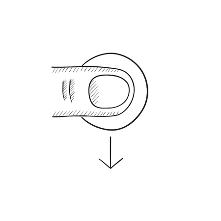touch screen hand: Drag down touch screen gesture vector sketch icon isolated on background. Hand drawn drag down touch screen gesture icon. Drag down touch screen gesture sketch icon for infographic, website or app. Illustration