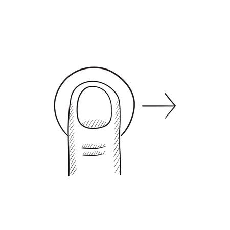 drag: Drag right touch screen gesture vector sketch icon isolated on background. Hand drawn drag right touch screen gesture icon. Drag right touch screen gesture sketch icon for infographic, website or app.