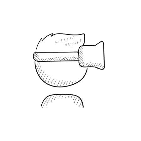 Man in virtual reality headset vector sketch icon isolated on background. Hand drawn Man in virtual reality headset icon. Man in virtual reality headset sketch icon for infographic, website or app. Illustration