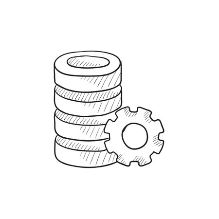storage device: Server with gear vector sketch icon isolated on background. Hand drawn Server with gear icon. Server with gear sketch icon for infographic, website or app.