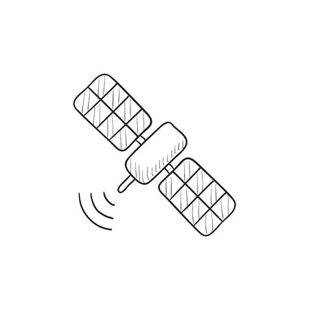 Satellite vector sketch icon isolated on background. Hand drawn Satellite icon. Satellite sketch icon for infographic, website or app. 向量圖像