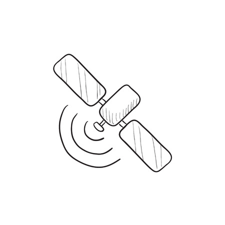 Satellite vector sketch icon isolated on background. Hand drawn Satellite icon. Satellite sketch icon for infographic, website or app. Illustration