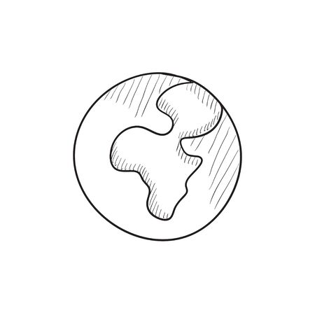 transnational: Globe vector sketch icon isolated on background. Hand drawn Globe icon. Globe sketch icon for infographic, website or app.