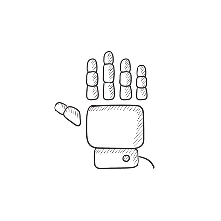 robot hand: Robot hand vector sketch icon isolated on background. Hand drawn Robot hand icon. Robot hand sketch icon for infographic, website or app.