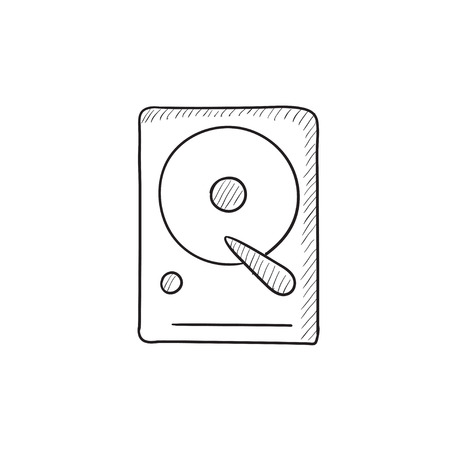 winchester: Hard disk vector sketch icon isolated on background. Hand drawn Hard disk icon. Hard disk sketch icon for infographic, website or app.