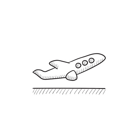 taking off: Plane taking off vector sketch icon isolated on background. Hand drawn Plane taking off icon. Plane taking off sketch icon for infographic, website or app.