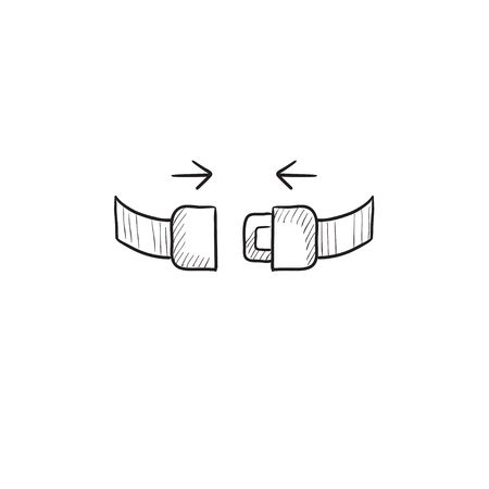 seat belt: Seat belt vector sketch icon isolated on background. Hand drawn Seat belt icon. Seat belt sketch icon for infographic, website or app.