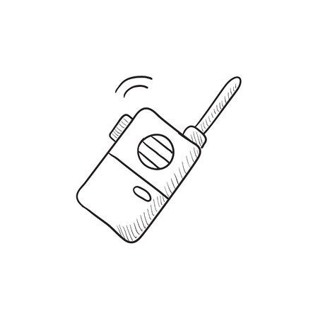 portable radio: Portable radio set vector sketch icon isolated on background. Hand drawn Portable radio set icon. Portable radio set sketch icon for infographic, website or app.