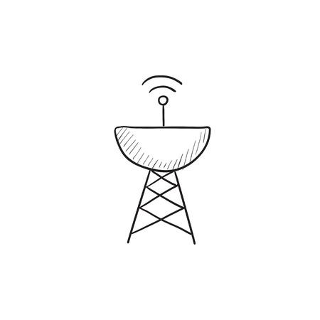 Radar satellite dish vector sketch icon isolated on background. Hand drawn Radar satellite dish icon. Radar satellite dish sketch icon for infographic, website or app. 向量圖像