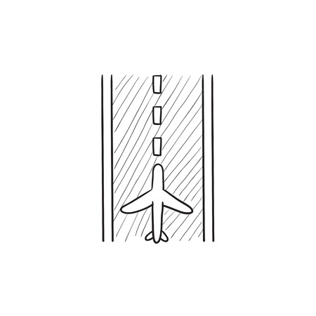 airport runway: Airport runway vector sketch icon isolated on background. Hand drawn Airport runway icon. Airport runway sketch icon for infographic, website or app.