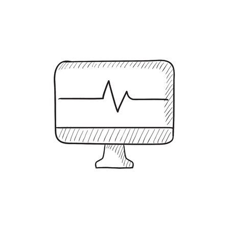 heart monitor: Heart beat monitor vector sketch icon isolated on background. Hand drawn Heart beat monitor icon. Heart beat monitor sketch icon for infographic, website or app.