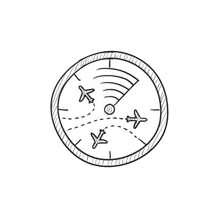 Radar screen with planes vector sketch icon isolated on background. Hand drawn Radar screen with planes icon. Radar screen with planes sketch icon for infographic, website or app. Illustration