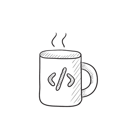 ean: Cup of coffee with code sign vector sketch icon isolated on background. Hand drawn Cup of coffee with code sign icon. Cup of coffee with code sign sketch icon for infographic, website or app. Illustration