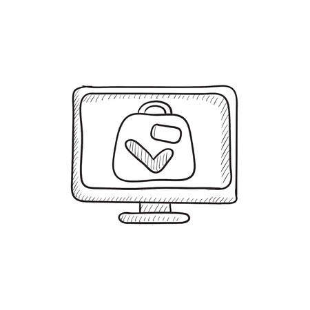 Suitcase at x-ray airport scanner vector sketch icon isolated on background. Hand drawn Suitcase at x-ray airport scanner icon. Suitcase at x-ray scanner sketch icon for infographic, website or app.