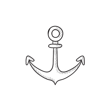 retention: Anchor vector sketch icon isolated on background. Hand drawn Anchor icon. Anchor sketch icon for infographic, website or app.