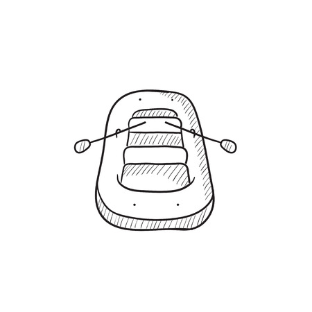 inflatable: Inflatable boat vector sketch icon isolated on background. Hand drawn Inflatable boat icon. Inflatable boat sketch icon for infographic, website or app.