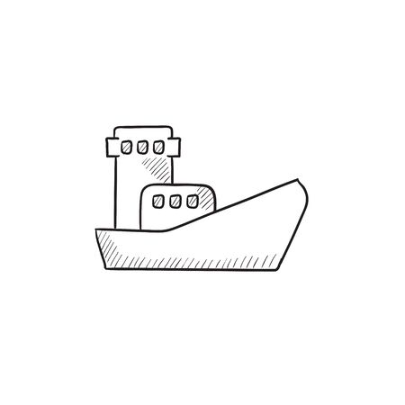 Cargo container ship vector sketch icon isolated on background. Hand drawn Cargo container ship icon. Cargo container ship sketch icon for infographic, website or app. Ilustração