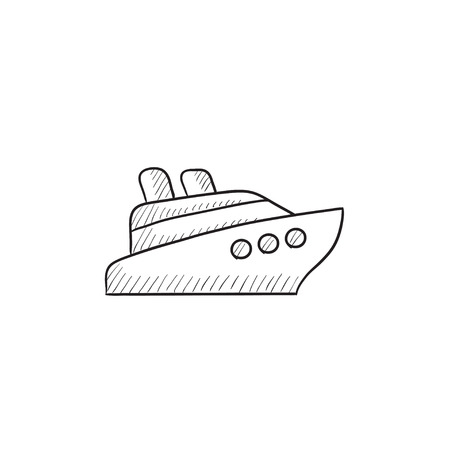 Cruise ship vector sketch icon isolated on background. Hand drawn Cruise ship icon. Cruise ship sketch icon for infographic, website or app. 向量圖像