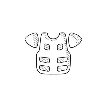 safeness: Motorcycle suit vector sketch icon isolated on background. Hand drawn Motorcycle suit icon. Motorcycle suit sketch icon for infographic, website or app.