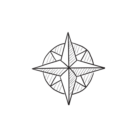 azimuth: Compass wind rose vector sketch icon isolated on background. Hand drawn Compass wind rose icon. Compass wind rose sketch icon for infographic, website or app. Illustration