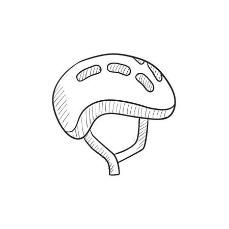 Fietshelm vector schets pictogram op een achtergrond. Hand getrokken Fiets helm icoon. Fietshelm schets pictogram voor infographic, website of app.