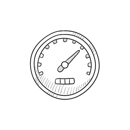 dial: Speedometer vector sketch icon isolated on background. Hand drawn Speedometer icon. Speedometer sketch icon for infographic, website or app.