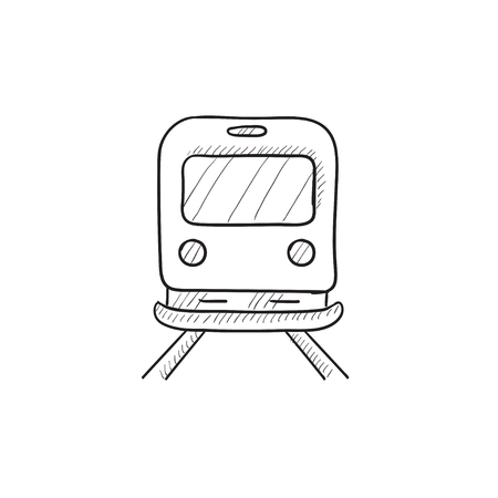 goods train: Back view of train vector sketch icon isolated on background. Hand drawn Back view of train icon. Back view of train sketch icon for infographic, website or app.