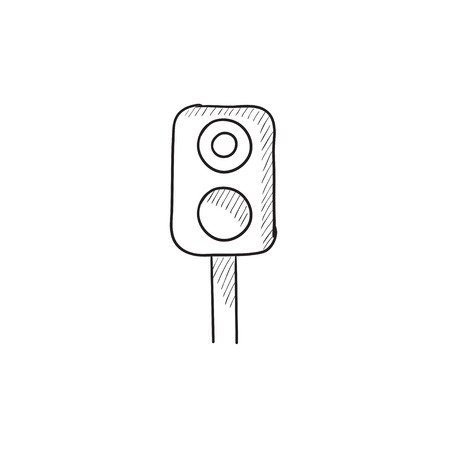 Railway traffic light vector sketch icon isolated on background. Hand drawn Railway traffic light icon. Railway traffic light sketch icon for infographic, website or app.