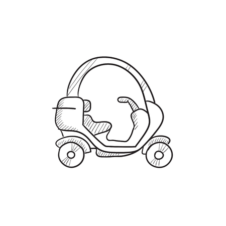 rickshaw: Rickshaw vector sketch icon isolated on background. Hand drawn Rickshaw icon. Rickshaw sketch icon for infographic, website or app. Illustration