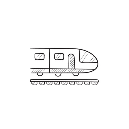 Modern high speed train vector sketch icon isolated on background. Hand drawn Modern high speed train icon. Modern high speed train sketch icon for infographic, website or app. Фото со стока - 57829138
