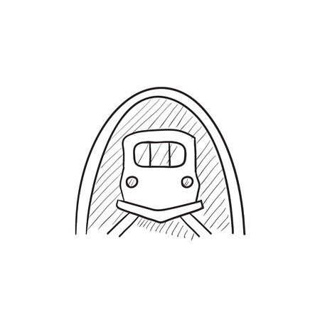 Railway tunnel vector sketch icon isolated on background. Hand drawn Railway tunnel icon. Railway tunnel sketch icon for infographic, website or app.