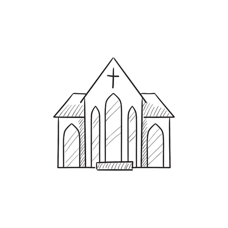 matrimony: Church vector sketch icon isolated on background. Hand drawn Church icon. Church sketch icon for infographic, website or app.