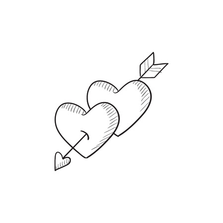 lovingly: Two hearts pierced with arrow vector sketch icon isolated on background. Hand drawn Two hearts pierced with arrow icon. Two hearts pierced with arrow sketch icon for infographic, website or app. Illustration