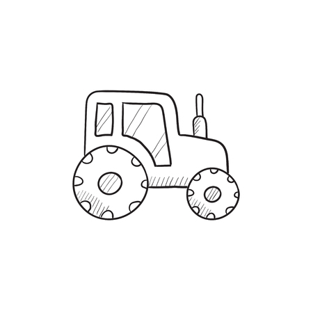 heavy industry: Tractor vector sketch icon isolated on background. Hand drawn Tractor icon. Tractor sketch icon for infographic, website or app.