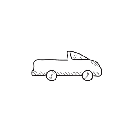 pick up truck: Pick up truck vector sketch icon isolated on background. Hand drawn Pick up truck icon. Pick up truck sketch icon for infographic, website or app.