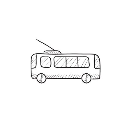 trolleybus: Trolleybus vector sketch icon isolated on background. Hand drawn Trolleybus icon. Trolleybus sketch icon for infographic, website or app.