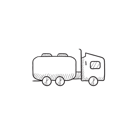 hand truck: Truck liquid cargo vector sketch icon isolated on background. Hand drawn Truck liquid cargo icon. Truck liquid cargo sketch icon for infographic, website or app.
