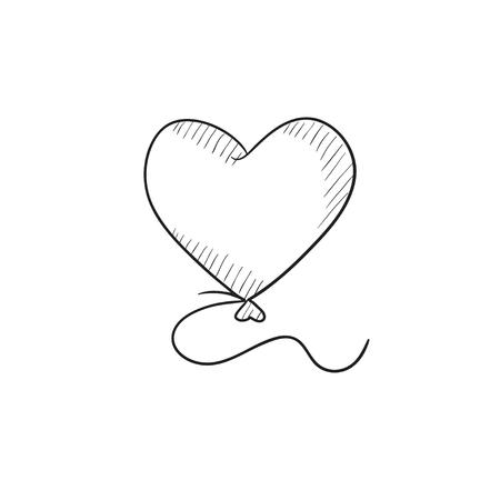 palloncino cuore icona del disegno vettoriale isolato su sfondo. A mano fumetto icona del cuore. Cuore icona dello schizzo a palloncino per infografica, sito web o un'applicazione.