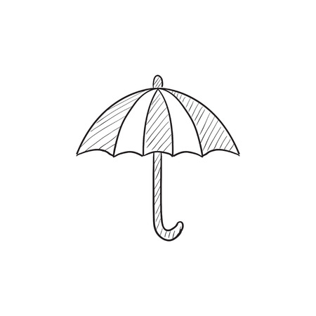 Umbrella vector sketch icon isolated on background. Hand drawn Umbrella icon. Umbrella sketch icon for infographic, website or app.