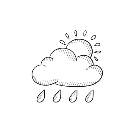 Cloud with rain and sun vector sketch icon isolated on background. Hand drawn Cloud with rain and sun icon. Cloud with rain and sun sketch icon for infographic, website or app. Illustration