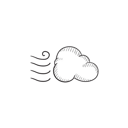 breezy: Windy cloud vector sketch icon isolated on background. Hand drawn Windy cloud icon. Windy cloud sketch icon for infographic, website or app.