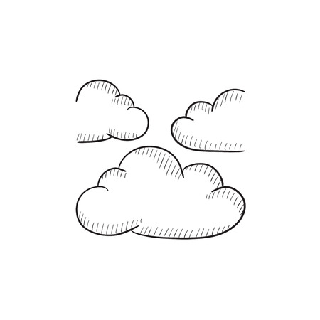 clouds: Clouds vector sketch icon isolated on background. Hand drawn Clouds icon. Clouds sketch icon for infographic, website or app.